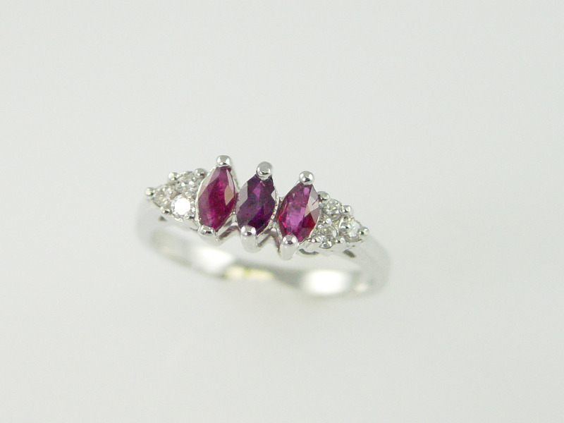 14Kt White Gold Marquise Ruby Ring