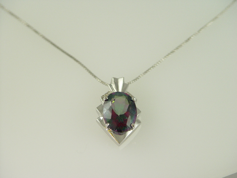 14Kt White Gold Oval Mystic Topez Pendant