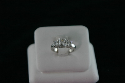 14KT White Gold 3 stone Cubic Princess Cut Ring