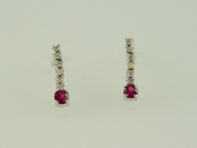 14KT White Gold Diamond 0.79ct Ruby 0.31ct Dangle Earring