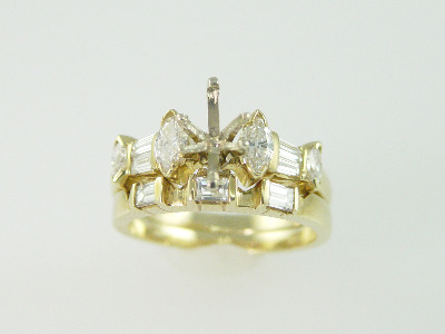 14KT Y/G Semi- 2 Rings Diamond Baguette & Marquise 1.25ct TW - 6.6gr