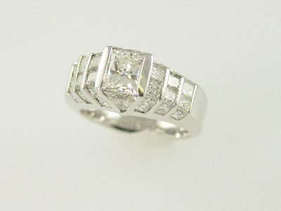 14KT White Gold Princess Cut & Triangle Diamonds 4.00ct-Radiant Cut Diamond 1.25ct