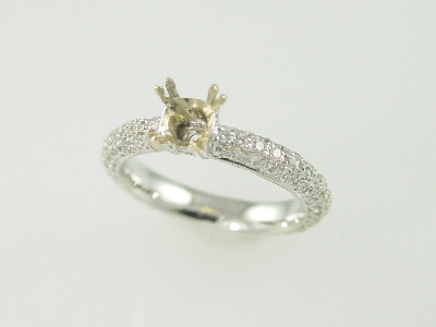 18kt White Gold Pave' Diamond 0.90ct Solitaire Ring