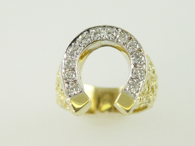 14KT Y/G Pave' Diamond 0.68ct Horeshoe Ring 13gr