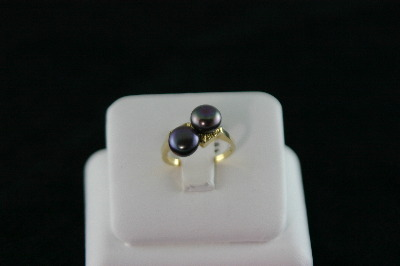 14KT Y/G Two Grey Biwa Pearls 6-1/2mm
