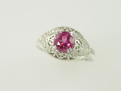 14KT White Gold Filigree Pink Tourmeline 1.22ct Diamonds 0.20ct Ring