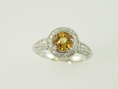 14KT White Gold Diamond Pave 1.52ct One Yellow Sapphire 0.50ct Ring