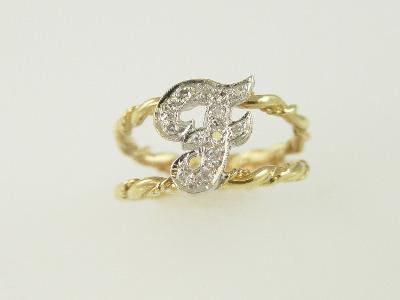 "14KT Y/G Diamond Initial ""F"" 0.15ct Pave Ring"