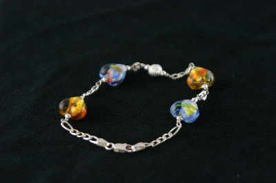 Silver Bracelet 9.2gr with 2 Blue and 2 Citrene Murano Glass Hearts