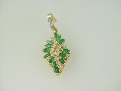 14KT Y/G EnhancerMarquise Emeralds 2.35ct/ Diamonds 0.38ct & Cubic Pendant