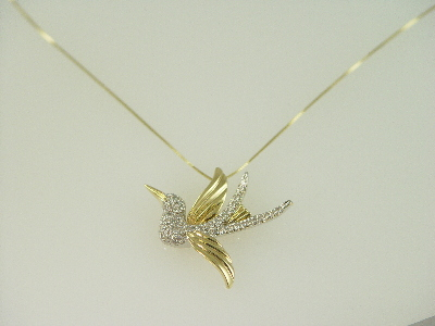 14KT Y/G Diamond Pave' 0.85ct Bird Pendant