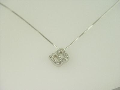 "14KT Y/G Diamond 0.50ct Initial ""B"" Pendant"