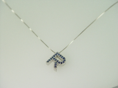 """14KT White Gold Sapphire 0.40ct Initial """"R"""" Pendant"""