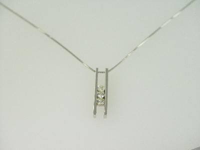 14KT White Gold Diamond 0.40ct Channel Set Bar Pendant