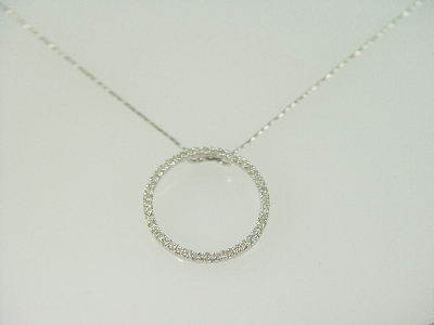14KT White Gold Diamond 0.55ct Circle Pendant