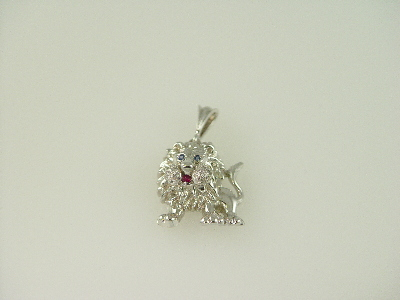 14lkt White Gold Lion Diamonds 0.20ct Pendant