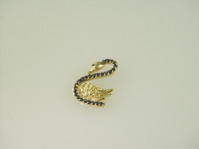 14KT Y/G Sapphire 0.75ct Swan Pendant