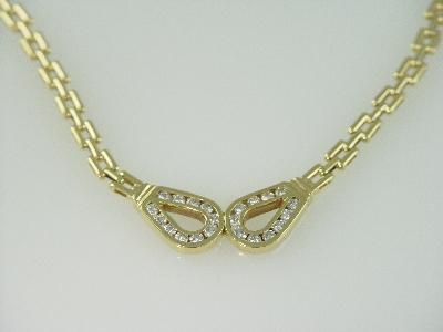 14KT Y/G Diamond 1.60ct Channel Set Necklace 25gr