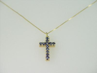 14KT Y/G Ceylon Sapphire Cross 1.76ct