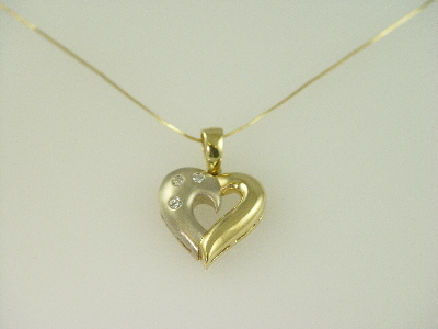 14KT Y/G and White Gold Heart with Diamonds 0.20ct Flush Set Pendant
