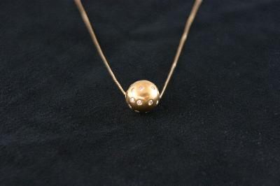 14KT Y/G Hammer Set Diamond 0.65 Ball Pendant