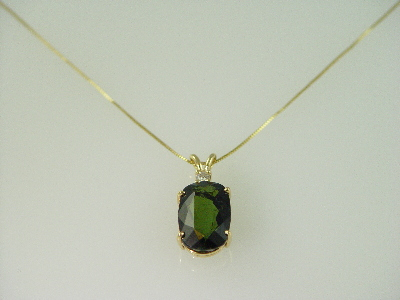 14KT Y/G Oval Green Tourmeline 10.02ct and One Diamond 0.10ct Pendant