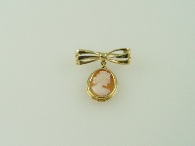 14KT Y/G Cameo Bow Pin 5.4gr