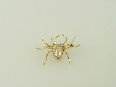 14KT Y/G Diamond Spider Pin 4gr Diamond 0.20ct