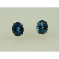 14KT Y/G Facet Blue Topez 7.78ct Stud