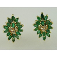 14KT Y/G Marquise Emeralds 3.75ct Diamond 0.15ct Omega Clip earring