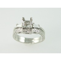 Platinum Semi- Filigree Set - 2 Baguettes 0.28ct - 8.7gr