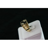 14KT Y/G Flat Onyx Channel Set Diamonds 0l.25ct Ring