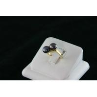 14KT Y/G Two Grey Biwa Pearls 6-1/2mm