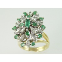 14KT Y/G Cluster Emerald 1.50ct Diamond 1.50ct Ring