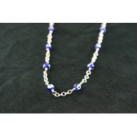 "Silver 30"" Necklace 32.5gr with 17 Round ""Evil Eye"" Beads"