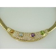14KT Y/G Peridot/Blue Topez/Amyst/Citrine- Diamond 2.50ct Pave' Necklace 44.24gr