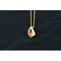 14KT Y/G Marquise Citrene 1.15ct and Diamond 0.05ct fllush Set Pendant