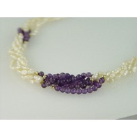 "20"" Strand Rice Pearl and 14kt Bead and Garnet Bead Necklace"
