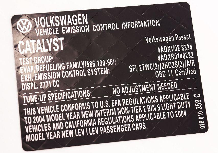 New Vehicle Emission Information Sticker 2004 VW Passat 2