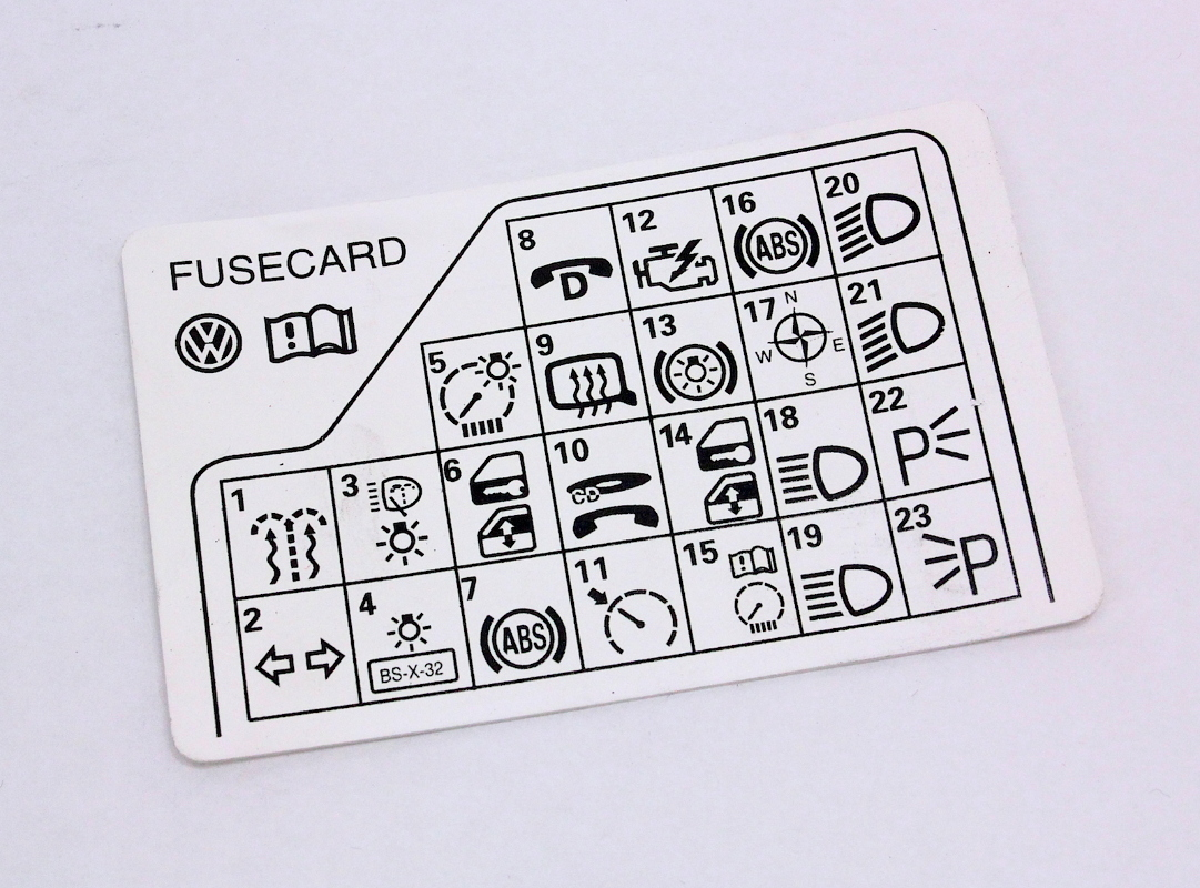 cp021629 389231731 fuse panel diagram reference card 98 05 vw passat b5 genuine 98 vw jetta fuse box diagram at gsmx.co