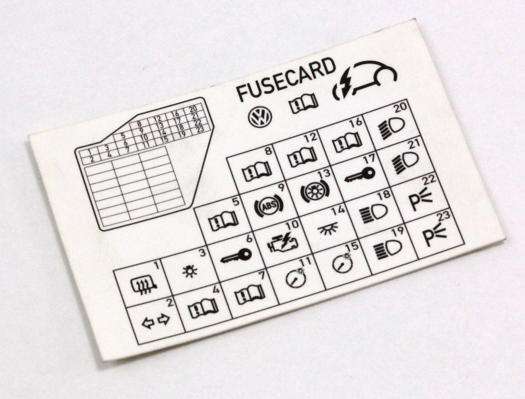 Dash Fuse Box Diagram Card Vw Beetle 98-10