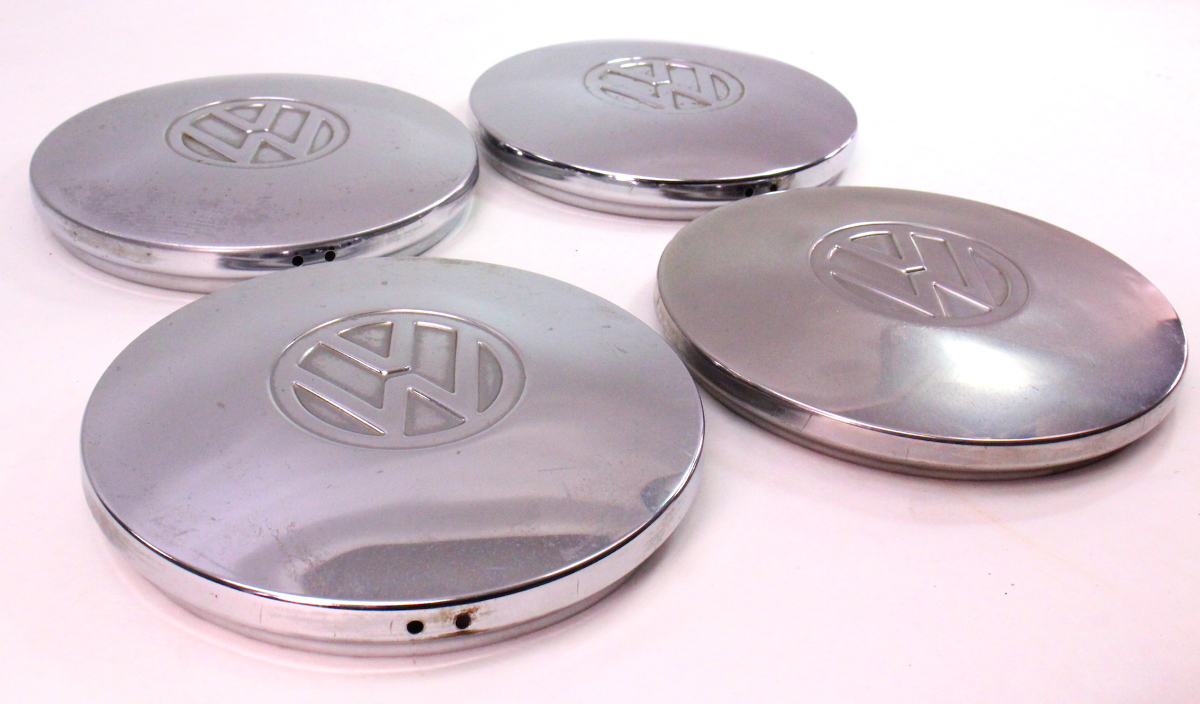 Chrome Steel Wheel Center Hub Cap Hubcap Set 75-84 VW Rabbit Jetta Pickup MK1 | CarParts4Sale, Inc.