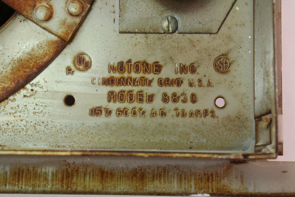Nutone Bathroom Fan Parts >> Nutone Model 8830 Vintage Old School Bathroom Fan Assembly W/ Grill Cover | CarParts4Sale, Inc.