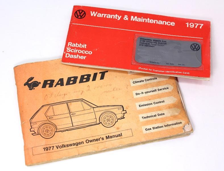 1977 volkswagen rabbit owners manual maintenance book vw