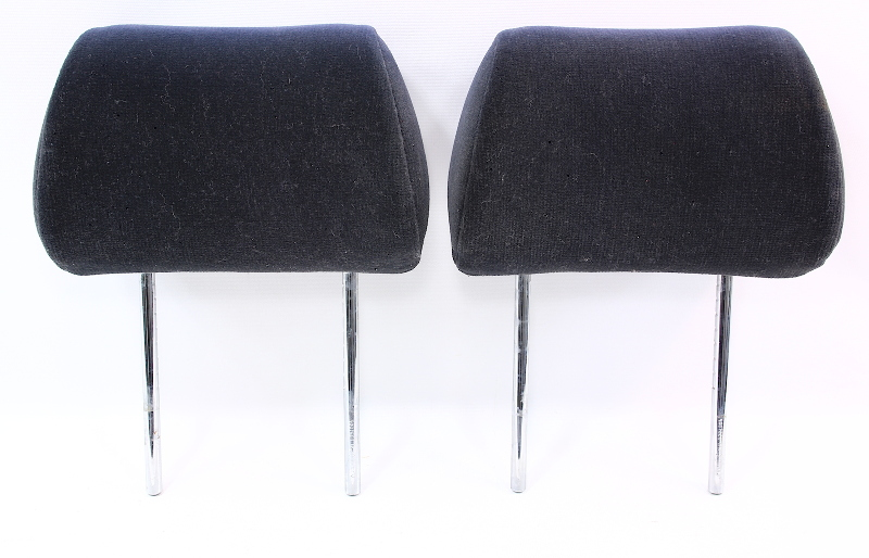 Rear Seat Headrests Pair 96-99 Audi A4 - Black Cloth - Genuine