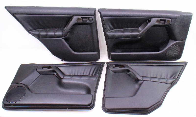 Black Leather Door Panel Card Set 93 99 VW Jetta GLX Golf