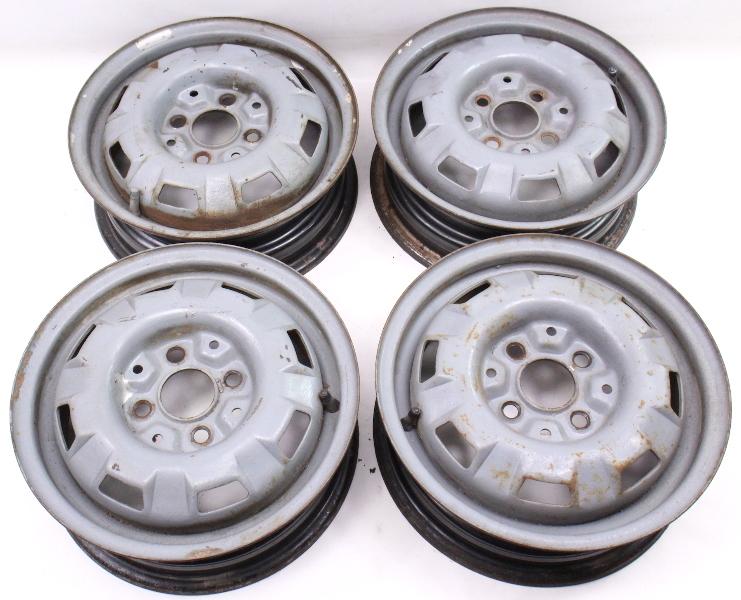 "13"" x 4.5"" Steel Wheel Rim Set 4x100 VW Jetta Golf Rabbit Pickup MK1 MK2 - Genuine"