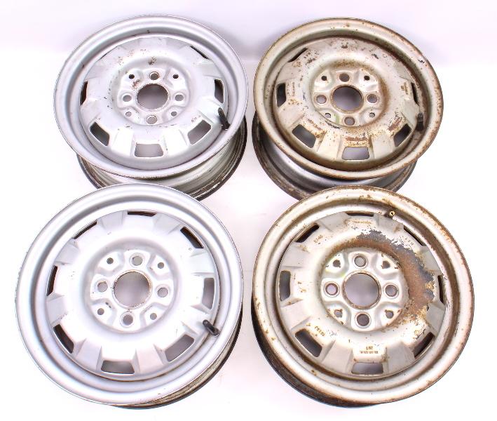 """13"""" x 5"""" Steel Wheel Rim Set 4x100 VW Jetta Rabbit Pickup MK1 - 175 601 025 H"""