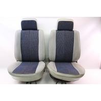 Pair Of Blue / White Cloth Front Bucket Seats 75-84 VW Rabbit Pickup LX MK1