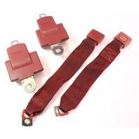 Rear Back Seat Belt Seatbelt Set 75-84 VW Rabbit MK1 Red - Genuine